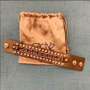 Cache Leather, Rhinestone, and Metal Link Cuff